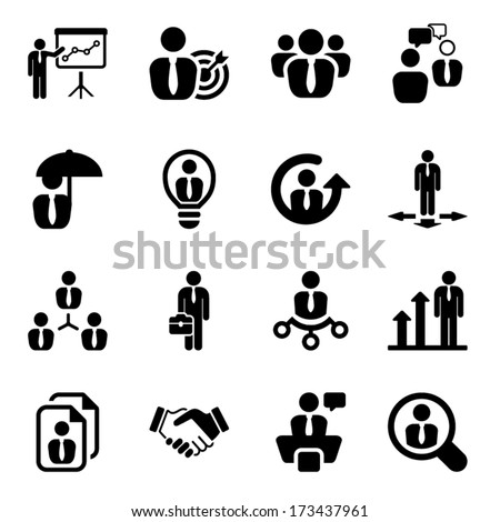 icon set in black for business & human resources.flat - stock vector