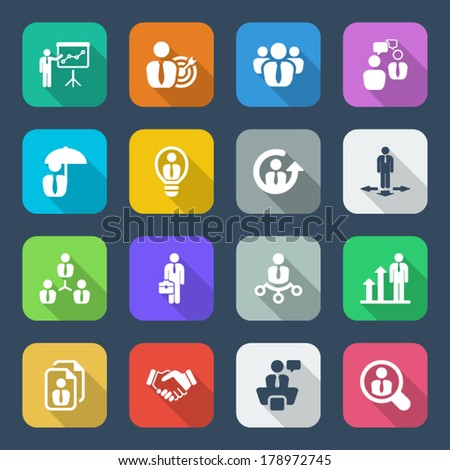 icon set in colorful for business & human resources.flat - stock vector