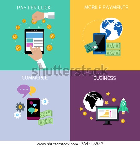 Icon set in flat design of business start up, commerce, mobile payment and pay per click concepts - stock vector