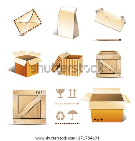 icon set of a mail communications illustrations - stock vector