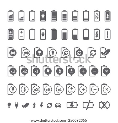 Icon set of battery charge level indicators for interface. Vector illustration. - stock vector
