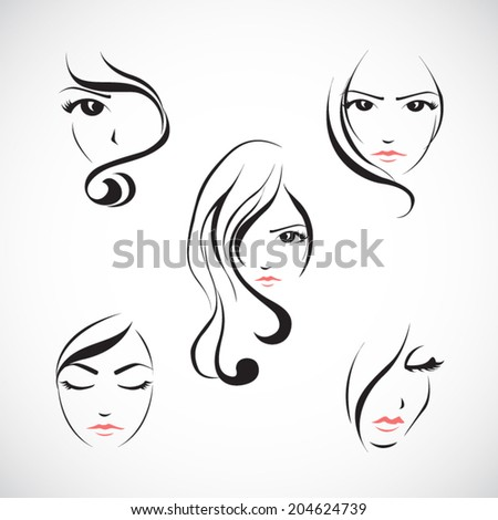 Icon set of beautiful woman's face with  long hair.Vector illustration - stock vector