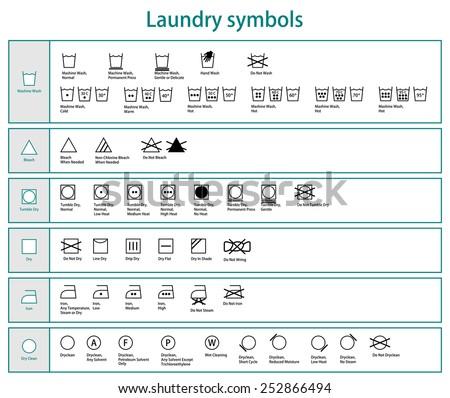 Icon Set Black Laundry Symbols Washing Stock Vector 252866494