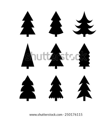 Icon set of Christmas trees. Winter trees icon. 9 different Christmas trees icons. Silhouettes of Christmas trees. Simple silhouettes of Christmas trees - stock vector