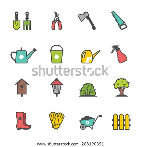 Icon set of colored garden tools and accessories. Vector illustration - stock vector