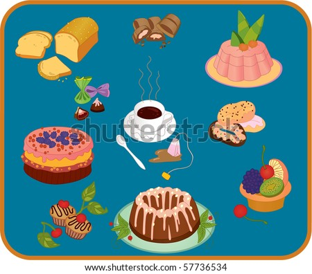 Icon set of cup of tea , candies and baked desserts