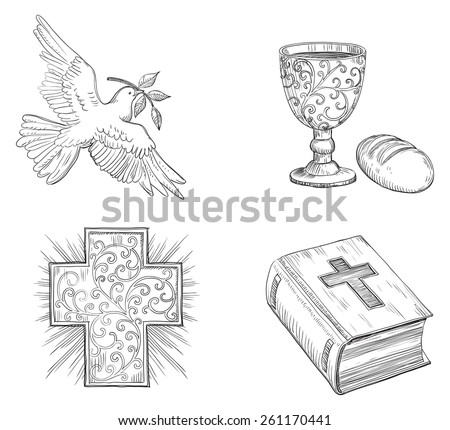 Icon set of Dove with olive branch, Religious cross, Bread,  gold Chalice with Wine and  Bible  at doddle style