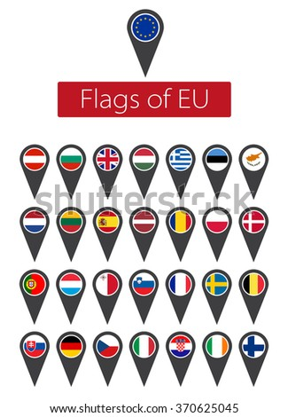 Icon Set of European Union flags  - stock vector