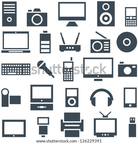 Icon set of gadgets, computer equipment and electronics. - stock vector