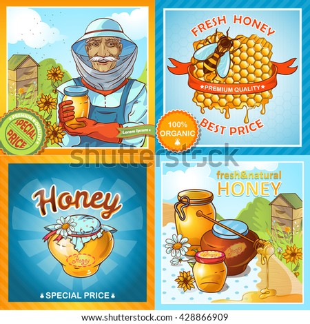 Icon set of honey compositions with description how make honey and titles for stickers special price fresh honey best price for example vector illustration - stock vector
