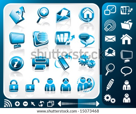 Icon set of internet, vector illustration layers file. - stock vector