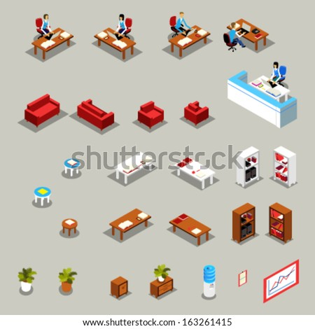 Icon Set of Isometric Office Furniture and Business Working People: Receptionist at the Desk, Colleagues, Manager, Water Cooler, Book Shelves, Flower, Sofa, Armchair, Chair, Diagram, Infographics.  - stock vector
