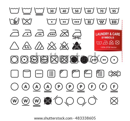 Icon Set Of Laundry Symbols In Modern Thin Line Flat Design Style Clothing Washing