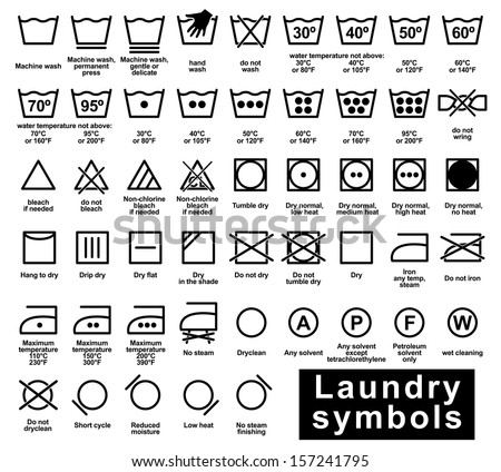 Icon set of laundry symbols, vector illustration - stock vector