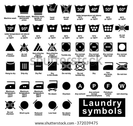 Icon set of laundry symbols, vector illustration print label cloth