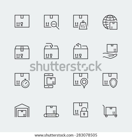 Icon set of packaging and shipping - stock vector