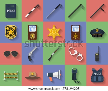 Icon set of police regimental, uniform, weapons, accessories. Police symbols - stock vector