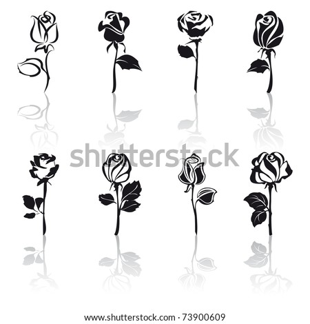 Icon set of Roses with reflections
