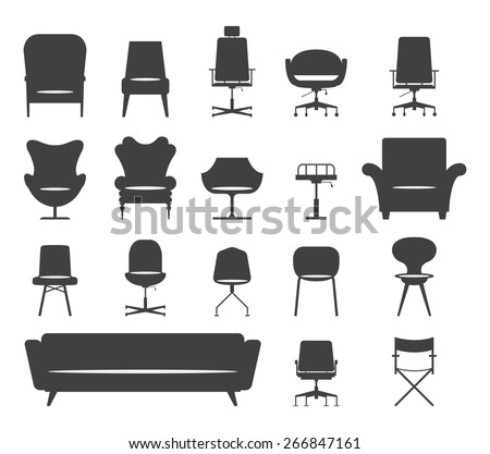 Icon set of silhouette modern furniture chair and sofa . Vector. Illustration - stock vector
