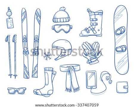 Icon set of ski & winter sports equipment: ski and ski sticks, hat helmet, gloves, shoes, scarf, smart phone. Hand drawn vector illustration - stock vector