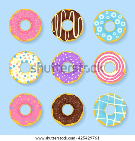 Icon set of sweet, tasty donuts in glaze.  - stock vector