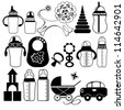 Icon Set of Toys and Accessories for Babies, Clip-Art Illustration, Vector Version - stock vector
