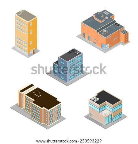 Icon set of various buildings including, factory, offices and apartments. Isometric Building Icons. A set of building icons. - stock vector