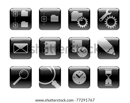 """Icon set on the """"Computers"""" theme. Black and white pictographs, pictured on the rounded square """"glossy"""" buttons. I have used my own designed symbols/pictographs. - stock vector"""