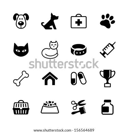 Icon set -  pets, vet clinic, veterinary medicine - stock vector