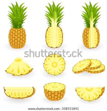 Icon Set Pineapple - stock vector