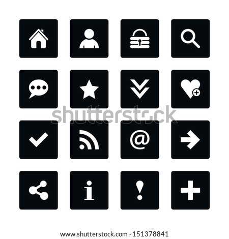 Icon set 05 popular basic sign. White pictogram on black rounded square button. Solid plain monochrome flat tile. Simple contemporary style. Web design element vector illustration save 8 eps - stock vector