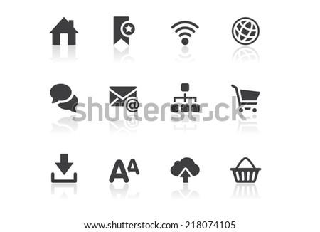 Icon set - Reflection - Web - Illustration - stock vector