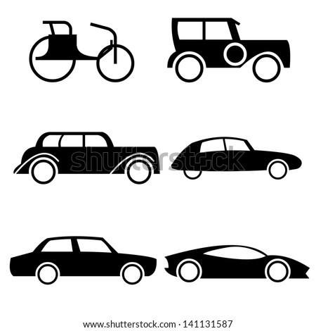icon set representing evolution cars through stock vector. Black Bedroom Furniture Sets. Home Design Ideas