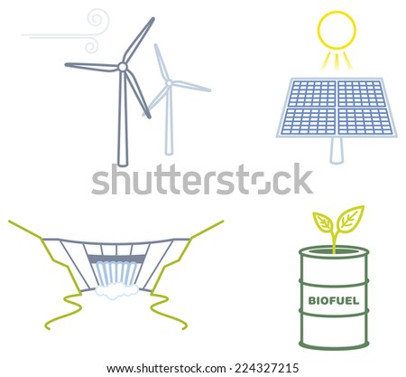 Icon set representing the main Renewable energies, solar, wind, water and biomass - stock vector