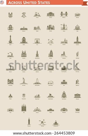 Icon set  represents each state as landmark and travel destination - stock vector