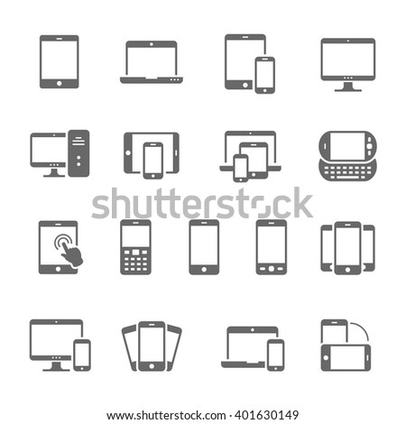Icon set - responsive devices - stock vector