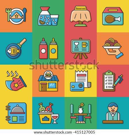 icon set restaurant vector - stock vector