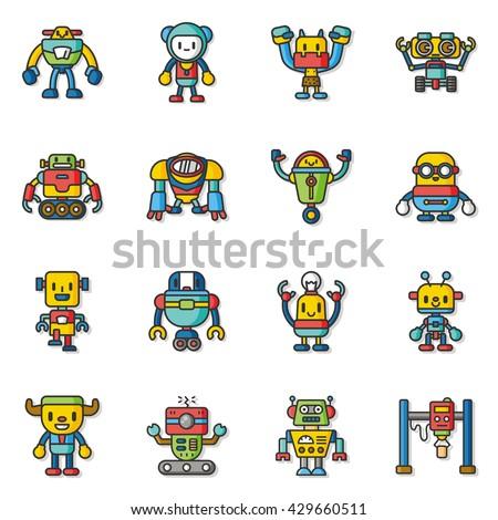 icon set robot vector - stock vector