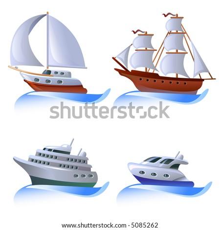 Icon set ships - stock vector