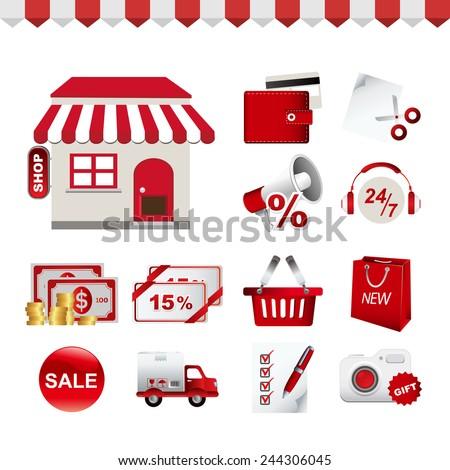 Icon Set - Shopping - icon - 1 - stock vector