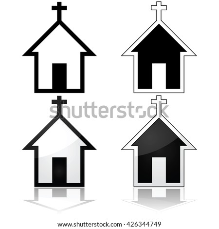 Icon set showing a church, represented in four different ways