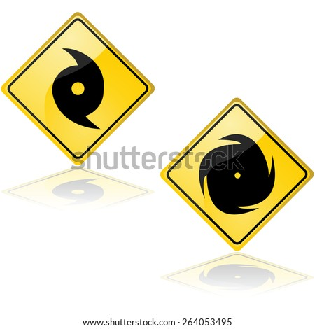 Icon set showing a couple of traffic signs alerting about a hurricane - stock vector