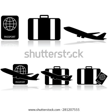 Icon set showing a passport, a suitcase and an airplane, by themselves and combined - stock vector