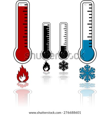 Icon set showing a thermometer with a high temperature and one registering cold temperatures - stock vector