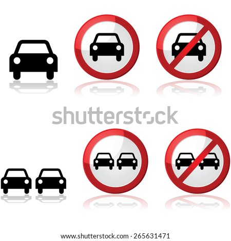 Icon set showing traffic signs with one or two cars - stock vector