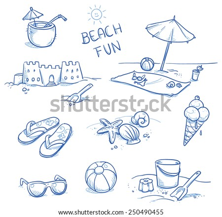 Icon set summer beach holidays, travel, vacation with sand castle, shoes, ice cream, shells, ball, drink, towel, sunglasses, parasol. Hand drawn doodle vector illustration. - stock vector