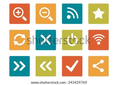 Icon Set - vibrant square - Basic Web & Computer - Illustration - stock vector