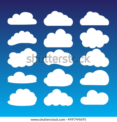 Icon set - white clouds against a blue sky. A set of frames in the form of clouds. Vector illustration.