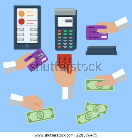 Icon set with hands holding cash and credit cards on blue background - stock vector