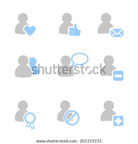 Icon set  with people and web symbols. Social networking and communication. - stock vector